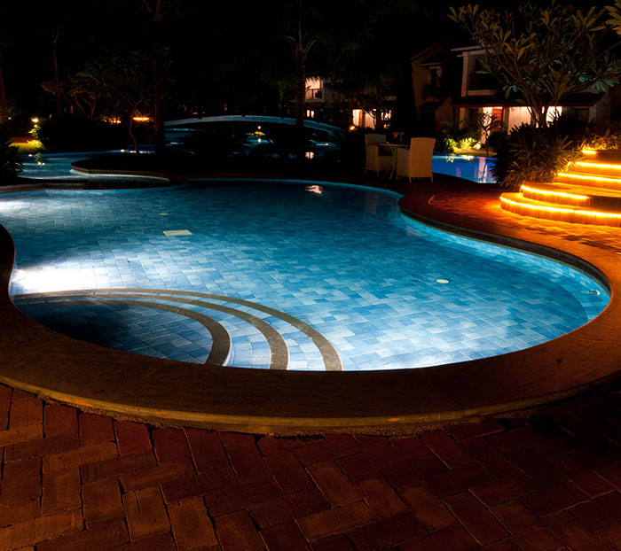 pool at night with lights